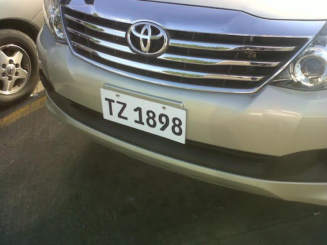Classic plate on a Toyota