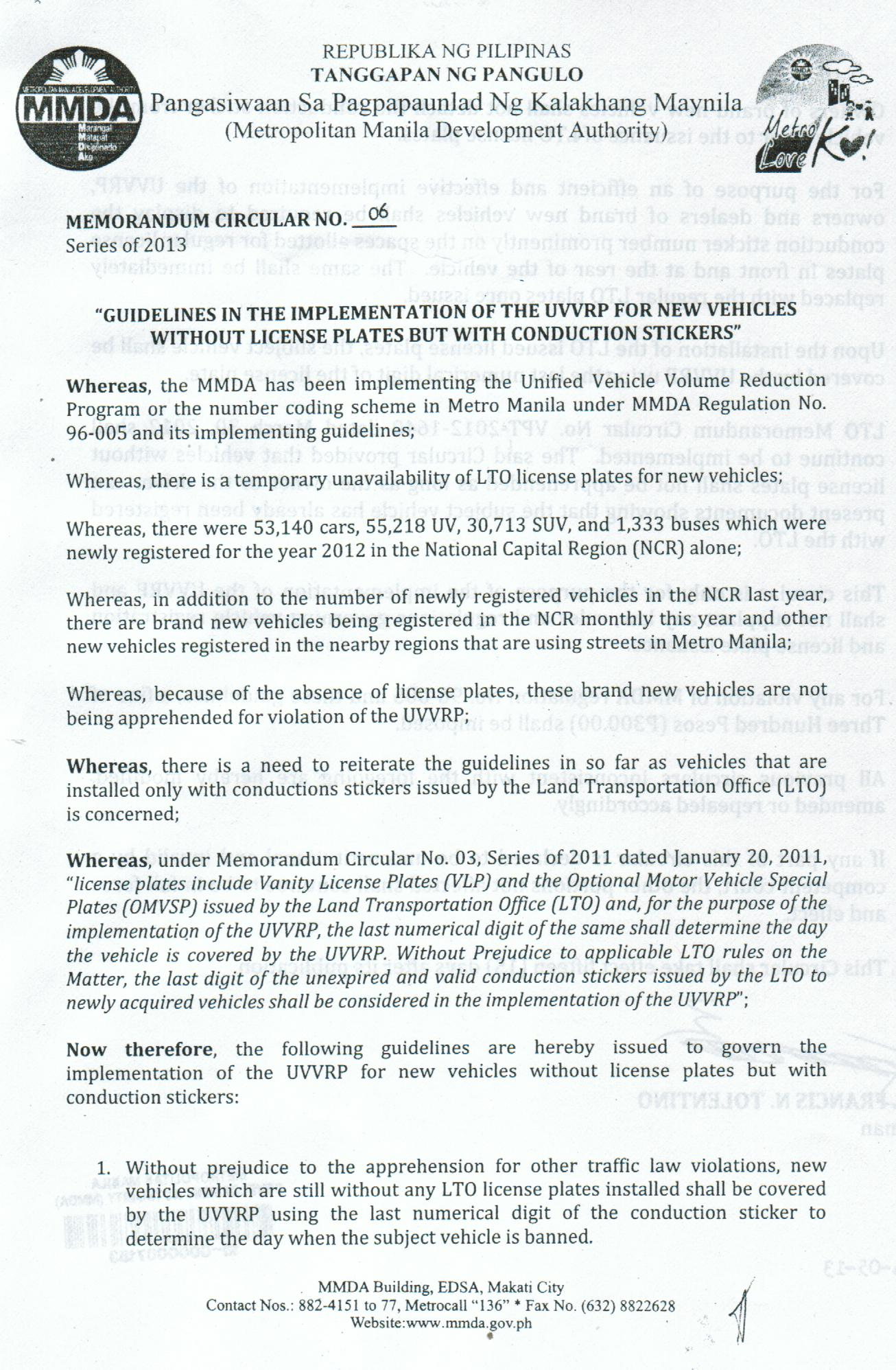 mmda memo about displaying the conduction number conduction mmda mc 6 page 1