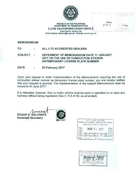 LTO Memo Feb 23 2017 Deferring Implementation of New Design