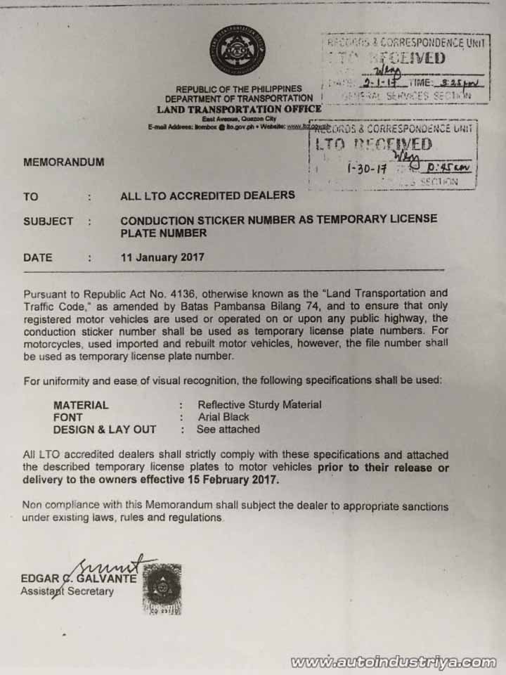 LTO Memo - Jan 11, 2017 Conduction Sticker Number as Temporary Licenses Number