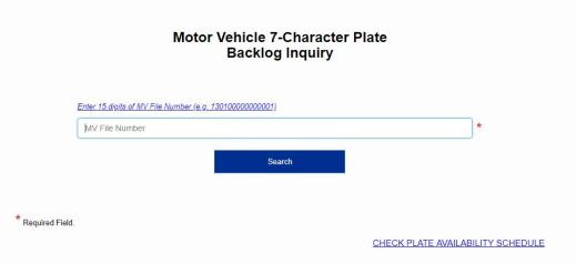LTO online plate availability checker