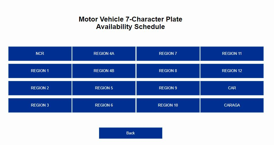 LTO Plate Availability Schedule Per Region