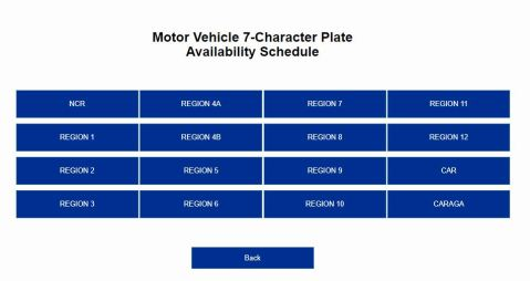 LTO Plate Availability Schedule Per Region